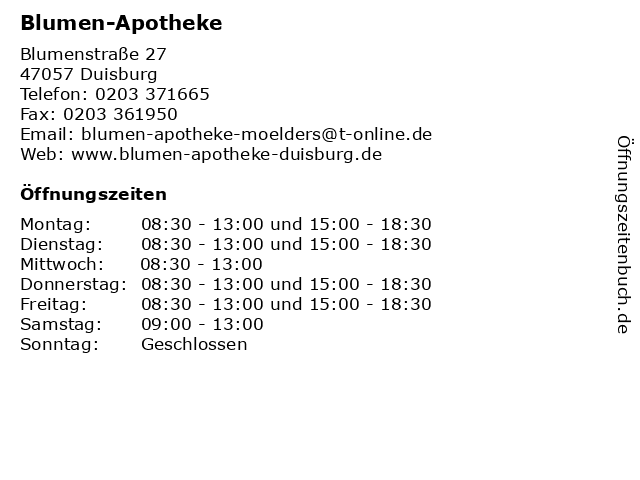 Blumen-Apotheke in Duisburg: Adresse und Öffnungszeiten