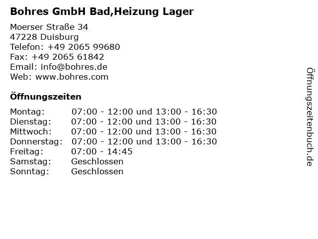 Bohres GmbH in Duisburg: Adresse und Öffnungszeiten