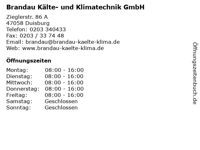 Brandau Kälte- und Klimatechnik GmbH in Duisburg: Adresse und Öffnungszeiten