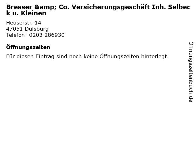 Bresser & Co. Versicherungsgeschäft Inh. Selbeck u. Kleinen in Duisburg: Adresse und Öffnungszeiten