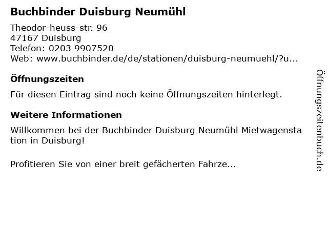 Buchbinder Duisburg Neumühl in Duisburg: Adresse und Öffnungszeiten
