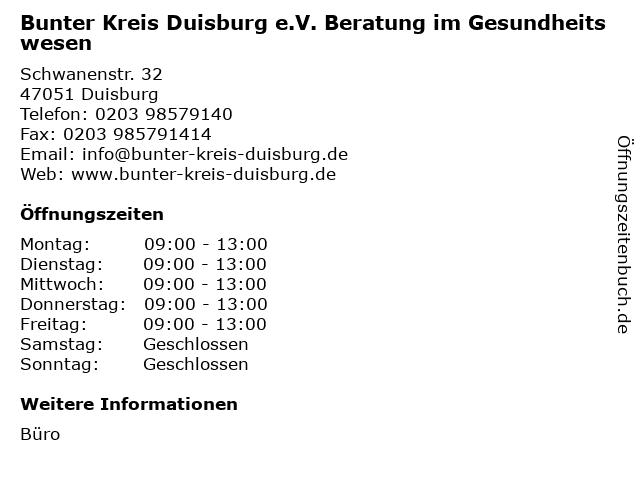 Bunter Kreis Duisburg e.V. Beratung im Gesundheitswesen in Duisburg: Adresse und Öffnungszeiten