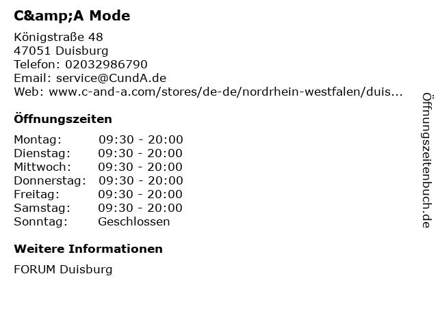 C&A Mode GmbH & Co. KG in Duisburg: Adresse und Öffnungszeiten