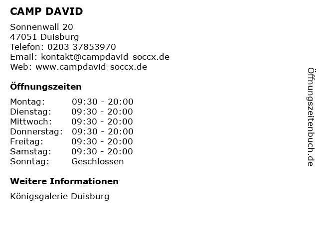 CAMP DAVID in Duisburg: Adresse und Öffnungszeiten