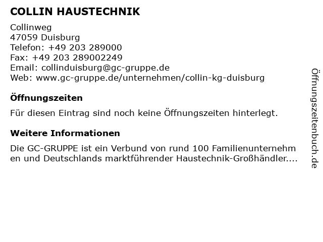 COLLIN HAUSTECHNIK in Duisburg: Adresse und Öffnungszeiten