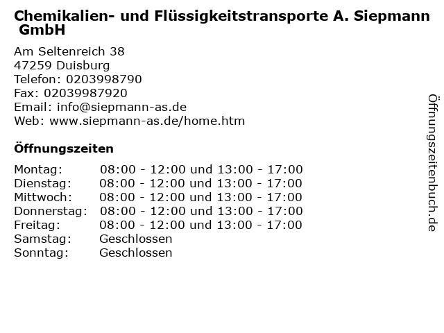 Chemikalien- und Flüssigkeitstransporte A. Siepmann GmbH in Duisburg: Adresse und Öffnungszeiten