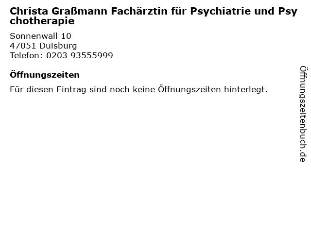 Christa Graßmann Fachärztin für Psychiatrie und Psychotherapie in Duisburg: Adresse und Öffnungszeiten