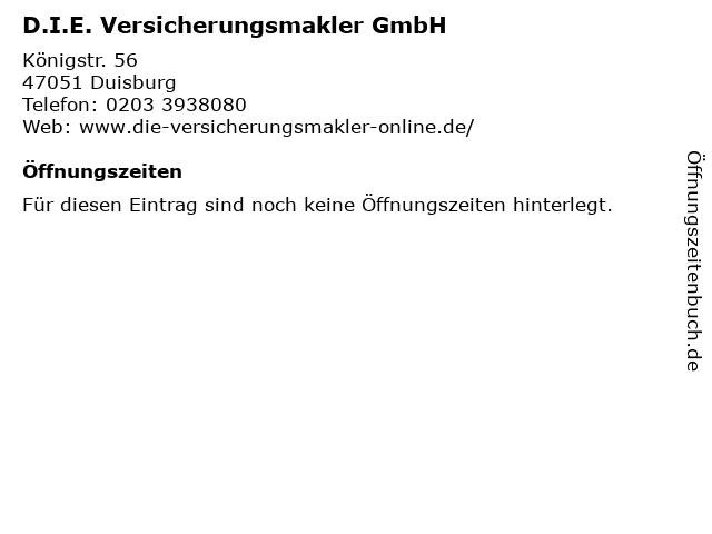 D.I.E. Versicherungsmakler GmbH in Duisburg: Adresse und Öffnungszeiten