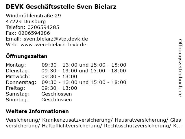 DEVK Geschäftsstelle Sven Bielarz in Duisburg: Adresse und Öffnungszeiten