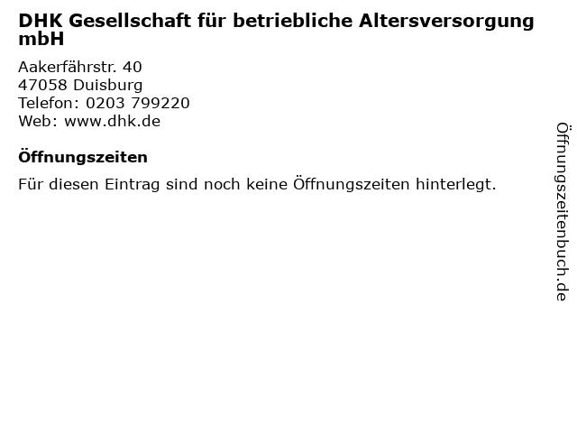 DHK Gesellschaft für betriebliche Altersversorgung mbH in Duisburg: Adresse und Öffnungszeiten