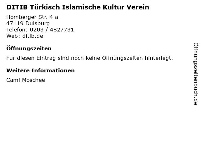 DITIB Türkisch Islamische Kultur Verein in Duisburg: Adresse und Öffnungszeiten