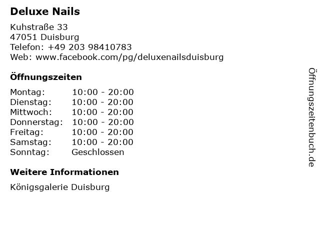 Deluxe Nails in Duisburg: Adresse und Öffnungszeiten