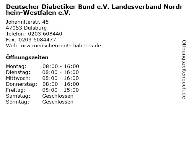 Deutscher Diabetiker Bund e.V. Landesverband Nordrhein-Westfalen e.V. in Duisburg: Adresse und Öffnungszeiten