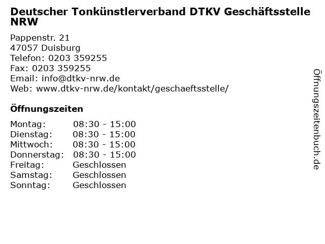 Deutscher Tonkünstlerverband DTKV Geschäftsstelle NRW in Duisburg: Adresse und Öffnungszeiten