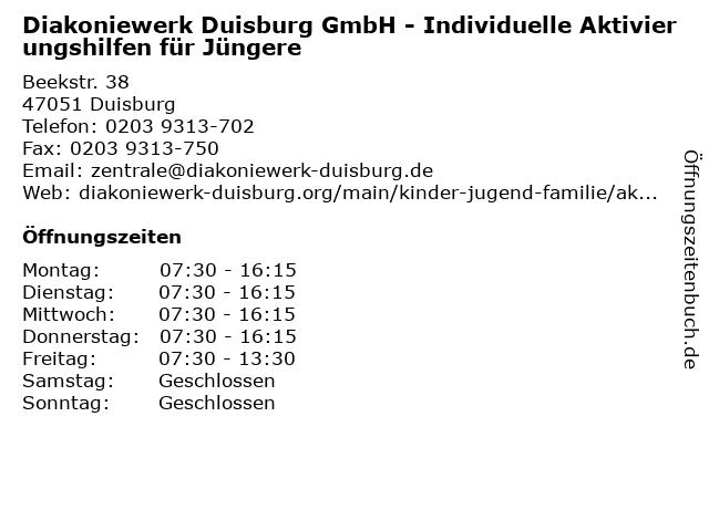 Diakoniewerk Duisburg GmbH - Individuelle Aktivierungshilfen für Jüngere in Duisburg: Adresse und Öffnungszeiten