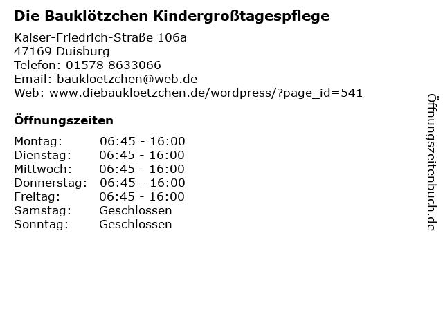 Die Bauklötzchen Kindergroßtagespflege in Duisburg: Adresse und Öffnungszeiten