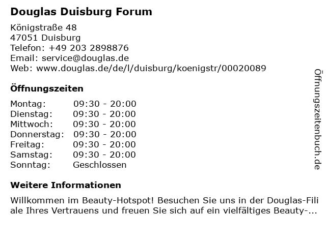Parfümerie Douglas Duisburg in Duisburg: Adresse und Öffnungszeiten