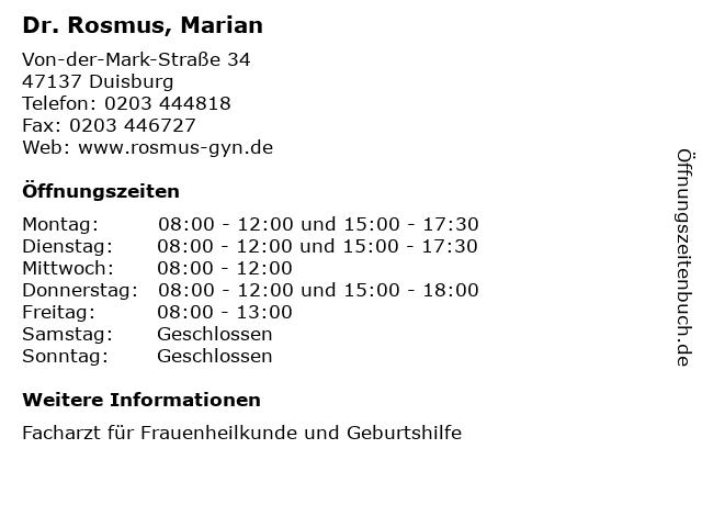Dr. Rosmus, Marian in Duisburg: Adresse und Öffnungszeiten