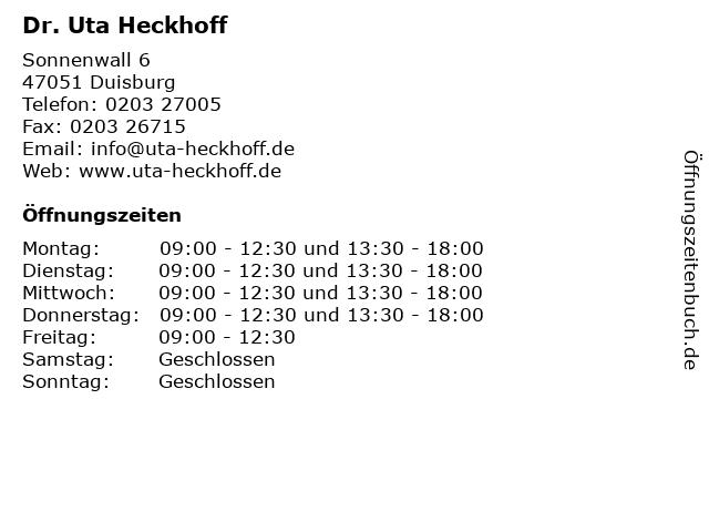Dr. Uta Heckhoff in Duisburg: Adresse und Öffnungszeiten