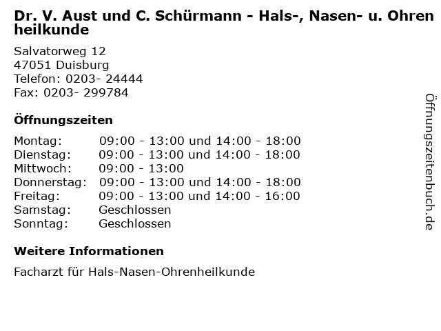 Dr. V. Aust und C. Schürmann - Hals-, Nasen- u. Ohrenheilkunde in Duisburg: Adresse und Öffnungszeiten