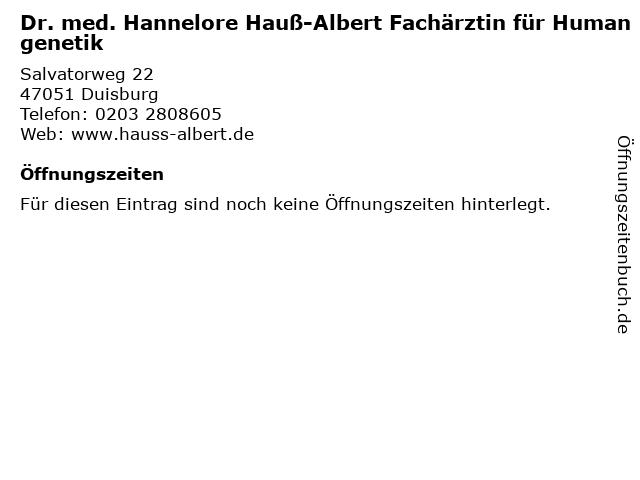 Dr. med. Hannelore Hauß-Albert Fachärztin für Humangenetik in Duisburg: Adresse und Öffnungszeiten