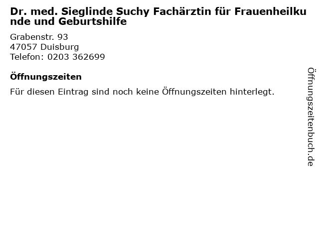 Dr. med. Sieglinde Suchy Fachärztin für Frauenheilkunde und Geburtshilfe in Duisburg: Adresse und Öffnungszeiten