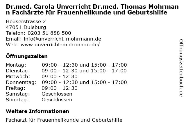 Dr.med. Carola Unverricht Dr.med. Thomas Mohrmann Fachärzte für Frauenheilkunde und Geburtshilfe in Duisburg: Adresse und Öffnungszeiten