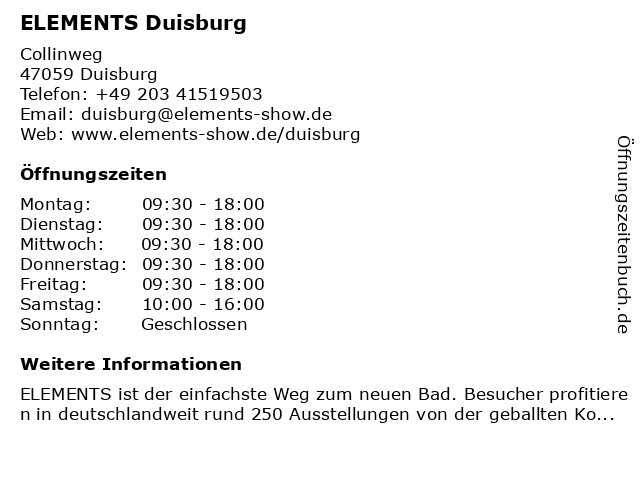 ELEMENTS Duisburg in Duisburg: Adresse und Öffnungszeiten