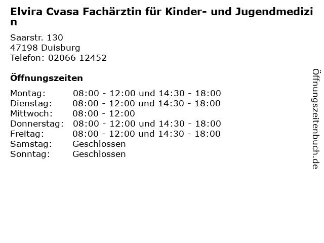 Elvira Cvasa Fachärztin für Kinder- und Jugendmedizin in Duisburg: Adresse und Öffnungszeiten