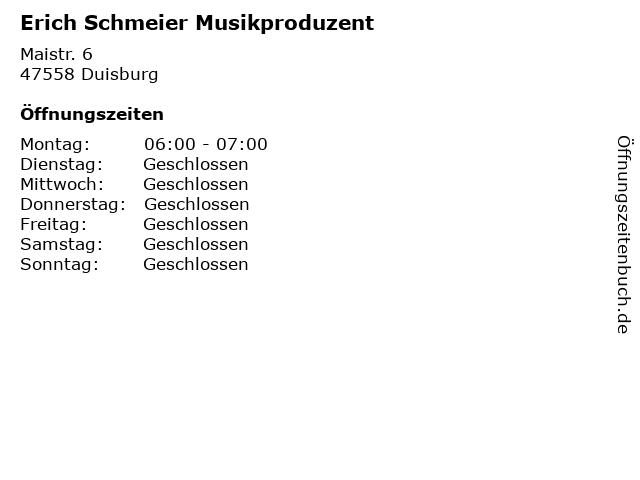 Erich Schmeier Musikproduzent in Duisburg: Adresse und Öffnungszeiten