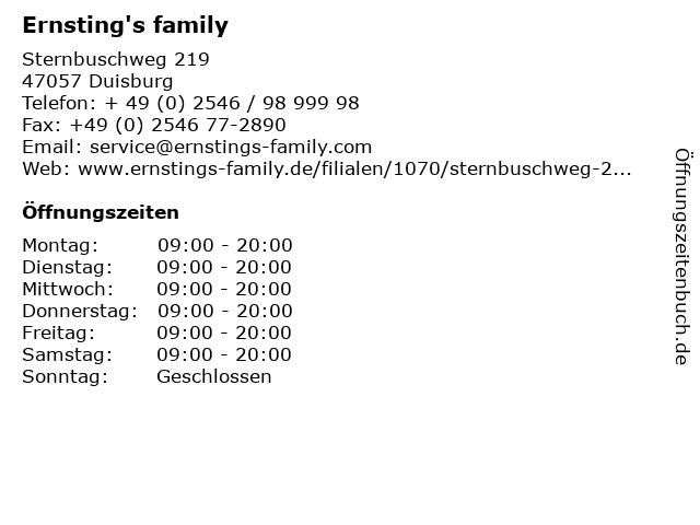 Ernsting's family in Duisburg: Adresse und Öffnungszeiten