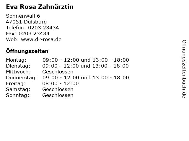 Eva Rosa Zahnärztin in Duisburg: Adresse und Öffnungszeiten