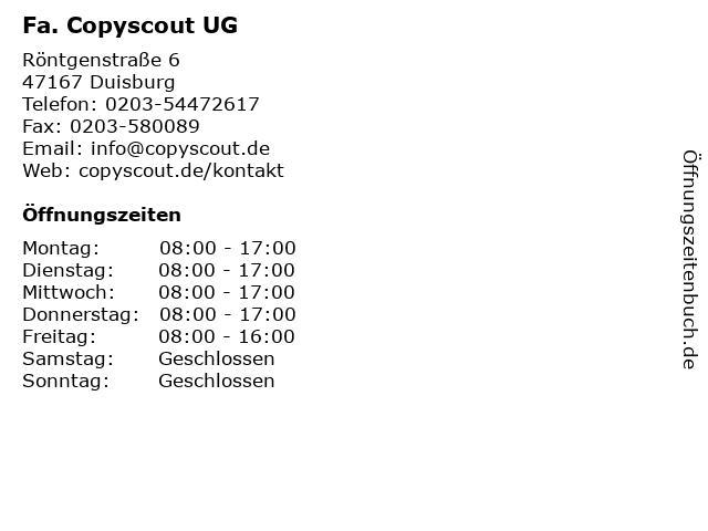 Fa. Copyscout UG in Duisburg: Adresse und Öffnungszeiten