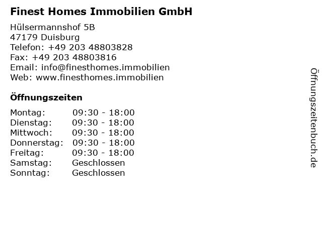 Finest Homes Immobilien GmbH in Duisburg: Adresse und Öffnungszeiten