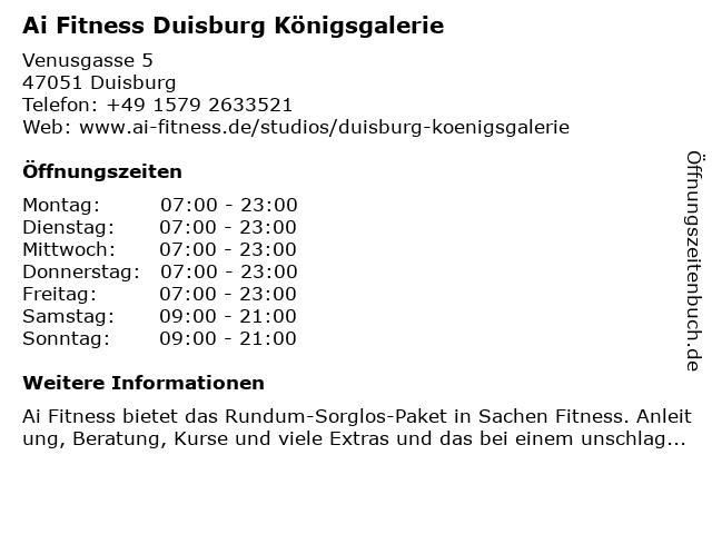 Fitness Center Königsgalerie GmbH in Duisburg: Adresse und Öffnungszeiten