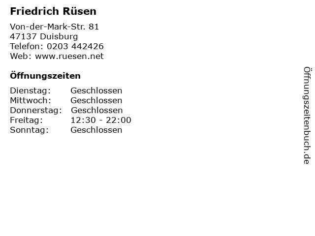 Friedrich Rüsen in Duisburg: Adresse und Öffnungszeiten