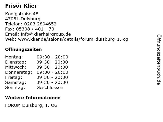 Frisör Klier GmbH in Duisburg: Adresse und Öffnungszeiten