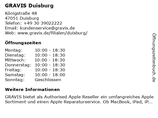 GRAVIS Duisburg in Duisburg: Adresse und Öffnungszeiten