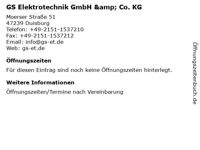 GS Elektrotechnik GmbH & Co. KG in Duisburg: Adresse und Öffnungszeiten