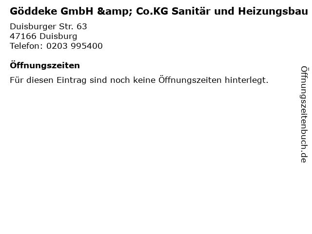 Göddeke GmbH & Co.KG Sanitär und Heizungsbau in Duisburg: Adresse und Öffnungszeiten