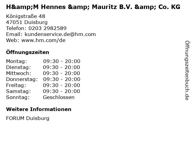 H&M Hennes & Mauritz B.V. & Co. KG in Duisburg: Adresse und Öffnungszeiten