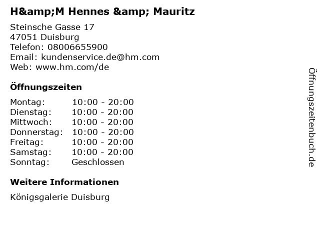 H&M Hennes & Mauritz in Duisburg: Adresse und Öffnungszeiten