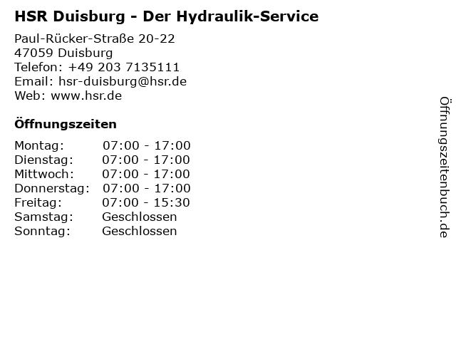 HSR Der Hydraulik-Service in Duisburg: Adresse und Öffnungszeiten