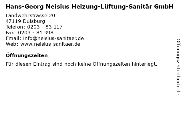 Hans-Georg Neisius Heizung-Lüftung-Sanitär GmbH in Duisburg: Adresse und Öffnungszeiten