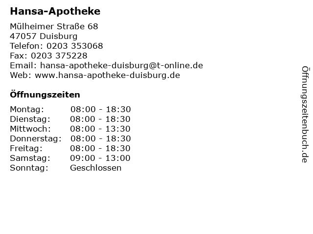 Hansa-Apotheke in Duisburg: Adresse und Öffnungszeiten
