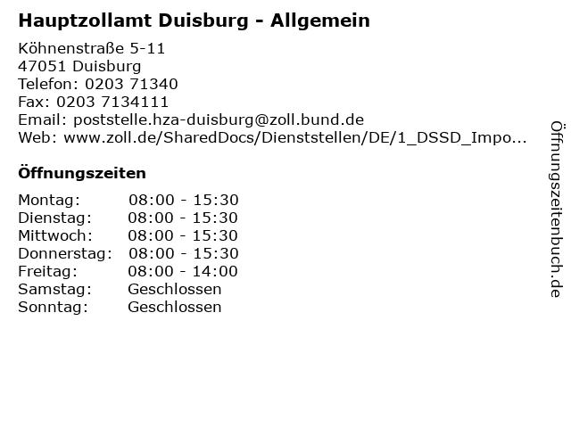 Hauptzollamt Duisburg - Allgemein in Duisburg: Adresse und Öffnungszeiten