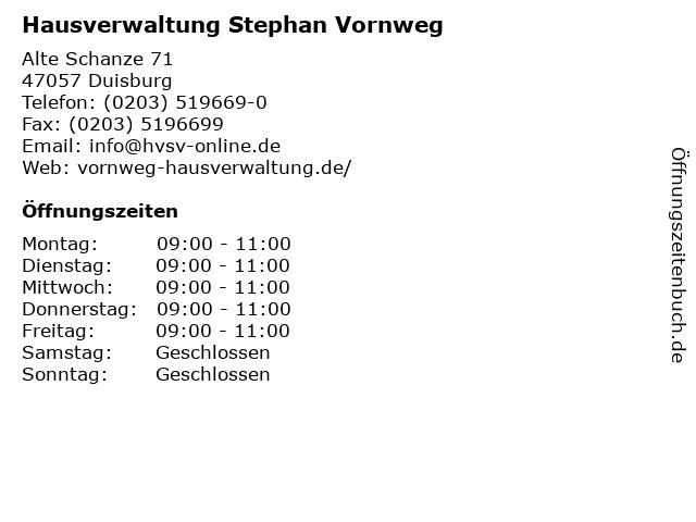 Hausverwaltung Stephan Vornweg in Duisburg: Adresse und Öffnungszeiten