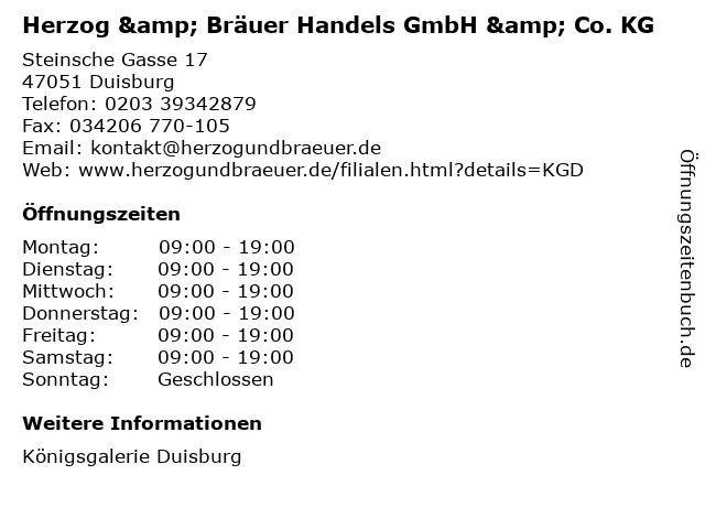 Herzog & Bräuer Handels GmbH & Co. KG in Duisburg: Adresse und Öffnungszeiten