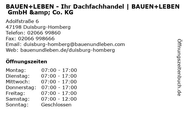 BAUEN+LEBEN GmbH & Co. KG in Duisburg-Homberg: Adresse und Öffnungszeiten