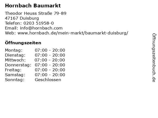 Hornbach Baumarkt in Duisburg: Adresse und Öffnungszeiten